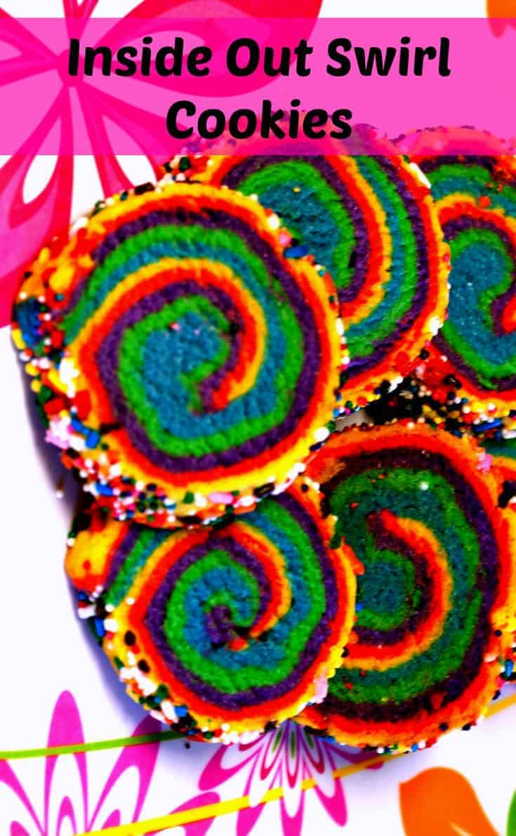 Rainbow Swirl Sugar Cookies. Rainbow Swirl Sugar Cookies made for the inside out movie and are a perfect treat for the kids. Easier to make then they look!