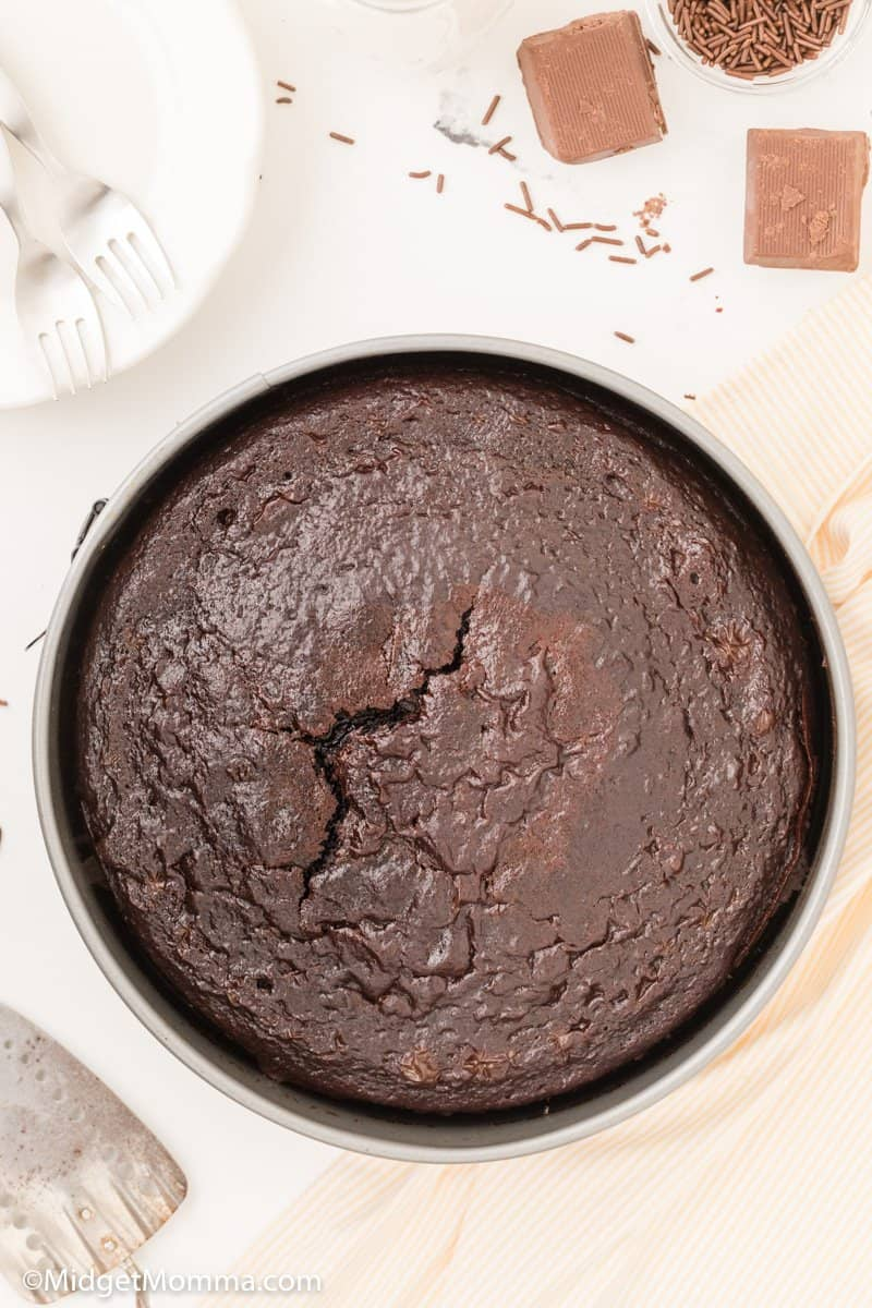 baked chocolate cake cooling in the cake pan