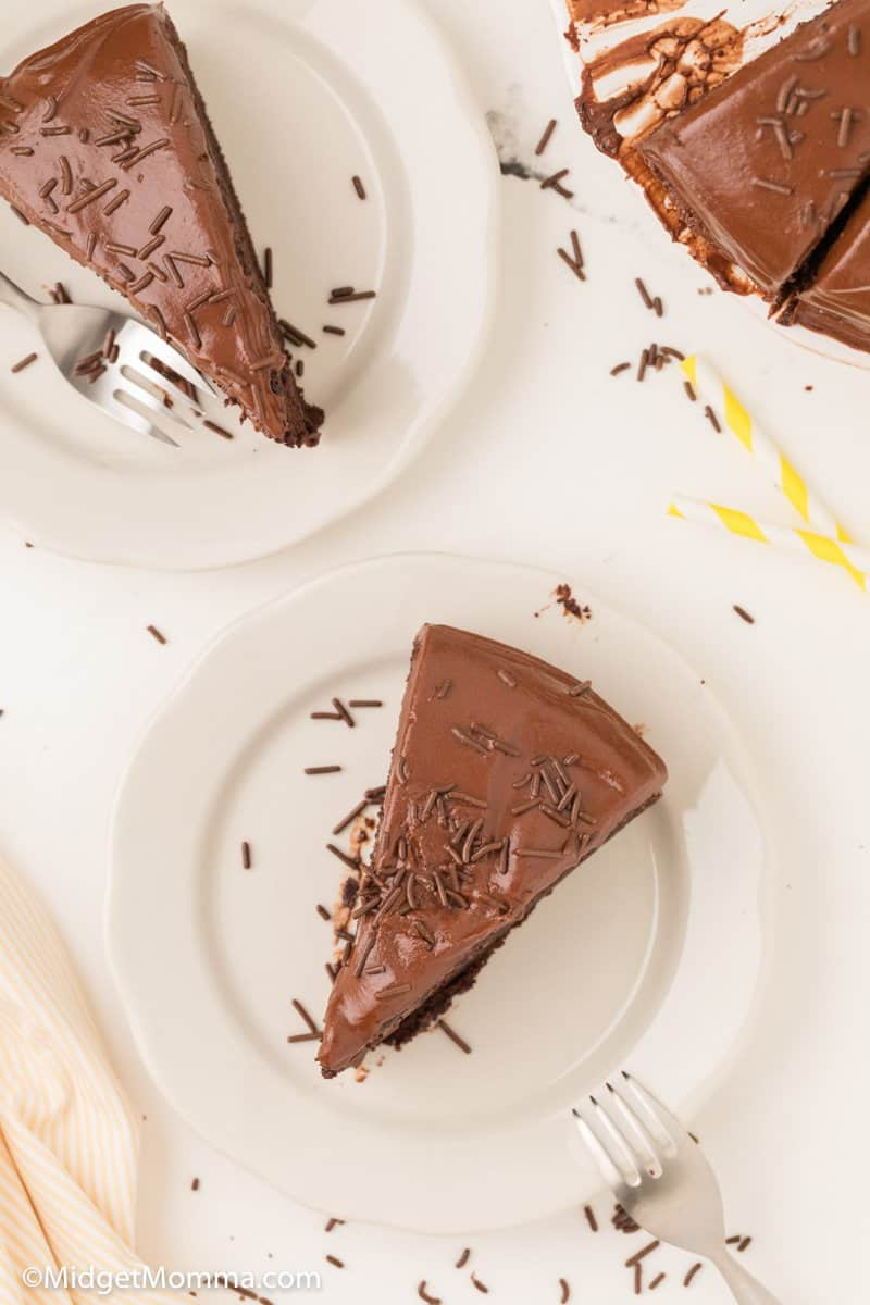 overhead shot of homemade chocolate cake recipe with chocolate frosting