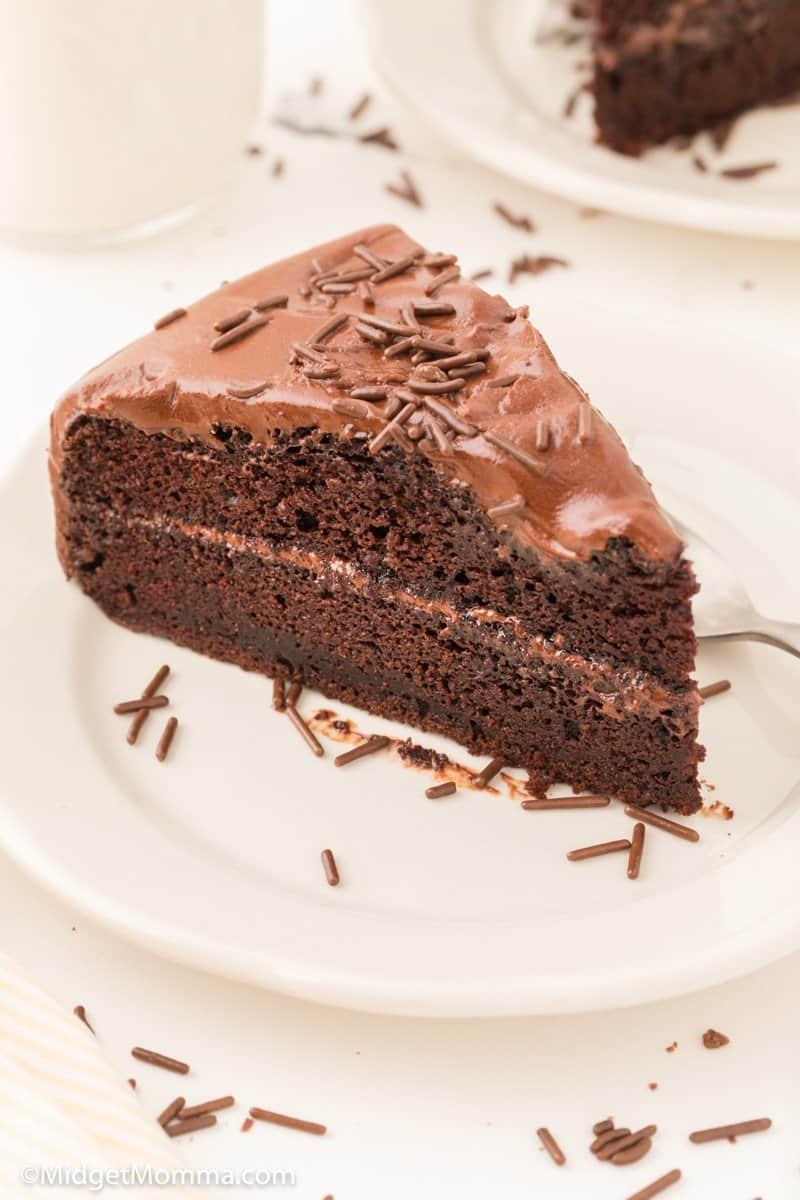 Slice of homemade chocolate cake recipe on a plaate