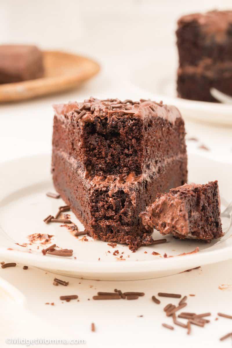 front of slice of homemade chocolate cake recipe