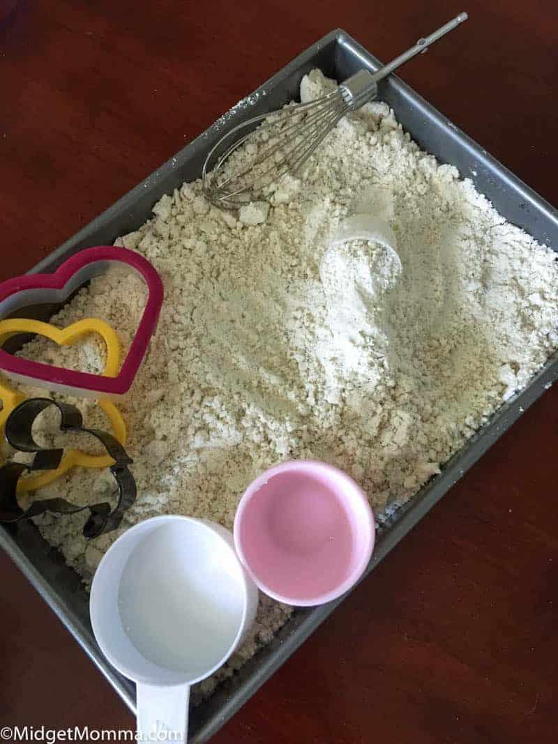 homemade cloud dough in a pan