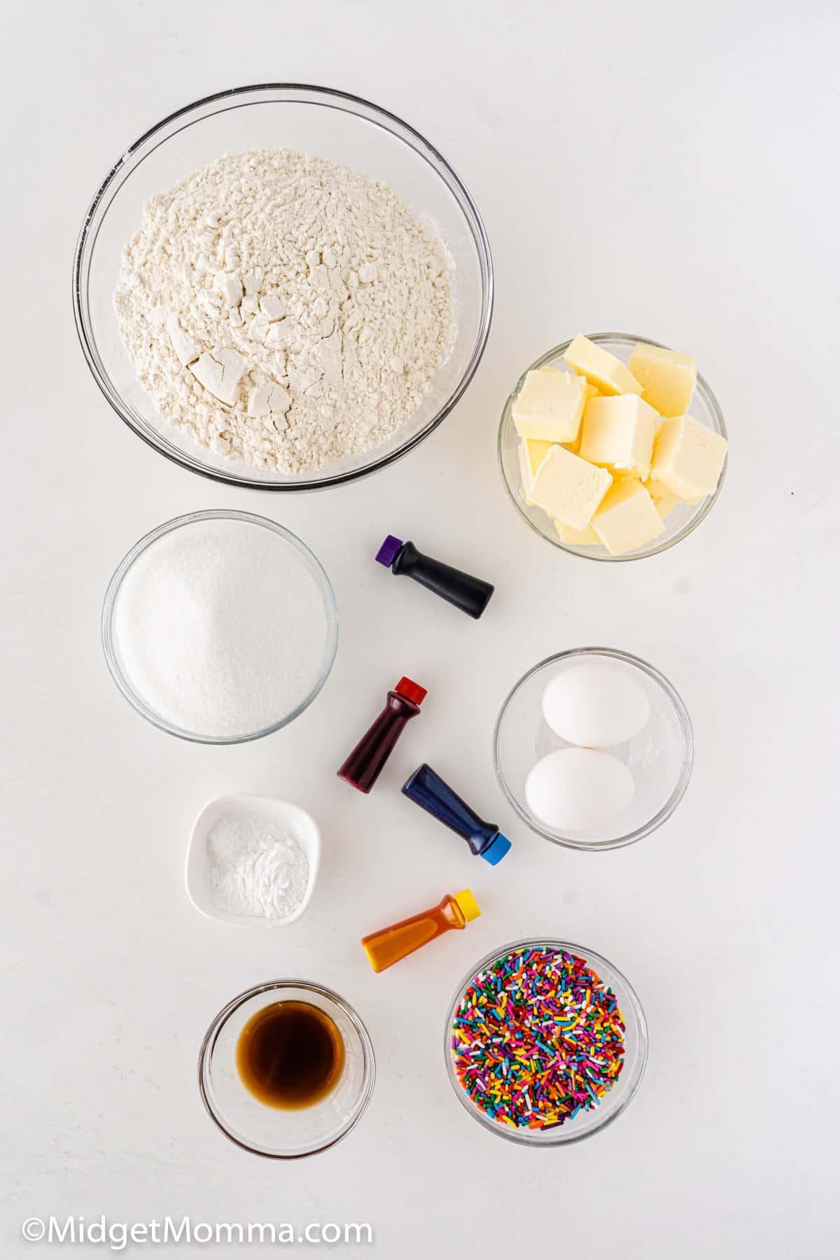 Rainbow Pinwheel Cookies Recipe ingredients