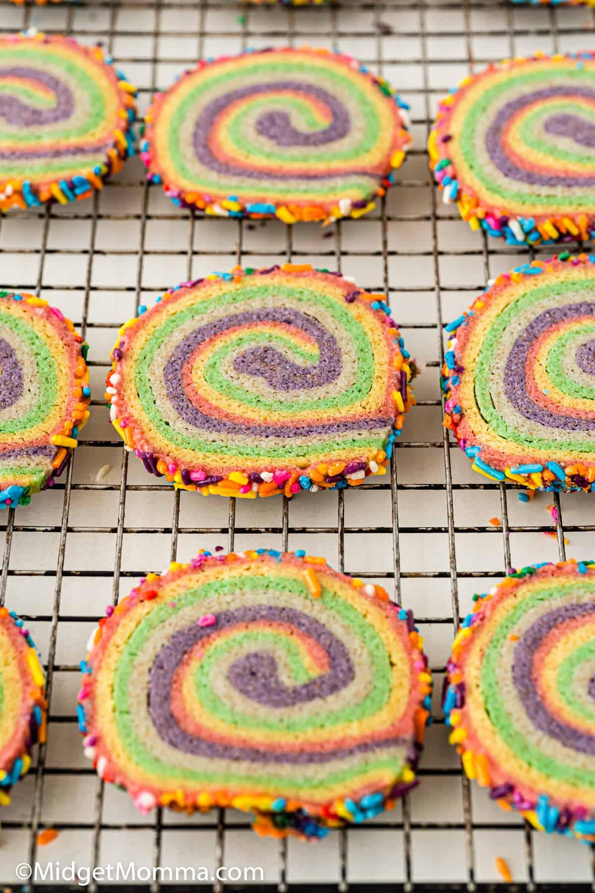 Rainbow Pinwheel Cookies on a tray