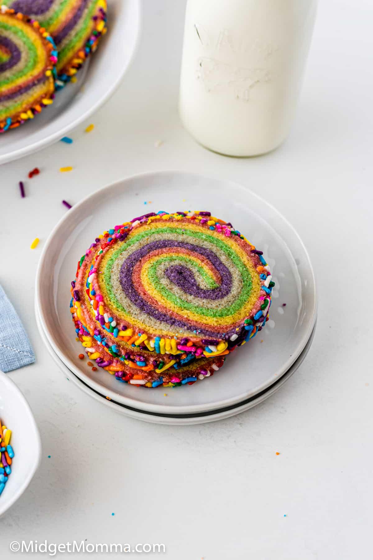 overhead photo of Rainbow Pinwheel Cookies