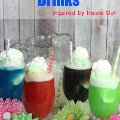 Sherbert Float Inside Out Drinks, Sherbert Floats Inspired by Disney Inside Out Drinks, party drinks inside out movie, inside out movie party, kids drinks.