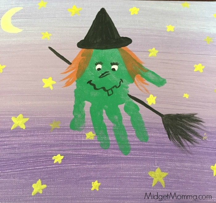 Halloween Witch Kids Hand Print Art