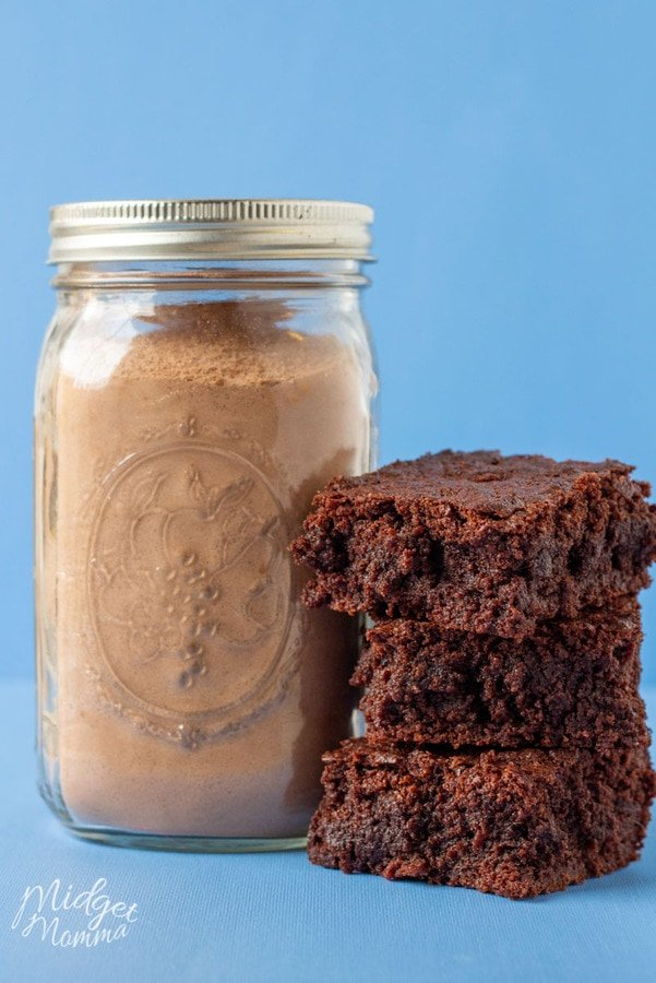 homemade mix to make homemade brownies stored in a mason jar