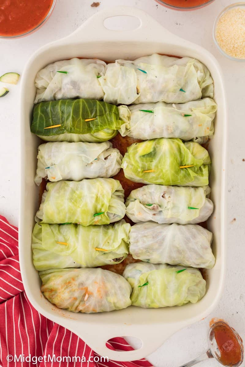 Stuffed Cabbage Rolls in a baking dish