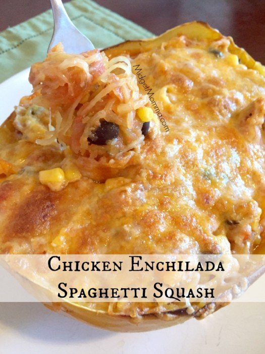 Chicken Enchilada Spaghetti Squash. Amazing enchilada flavor with in an awesome spaghetti squash bowl. Easy Dinner recipe.