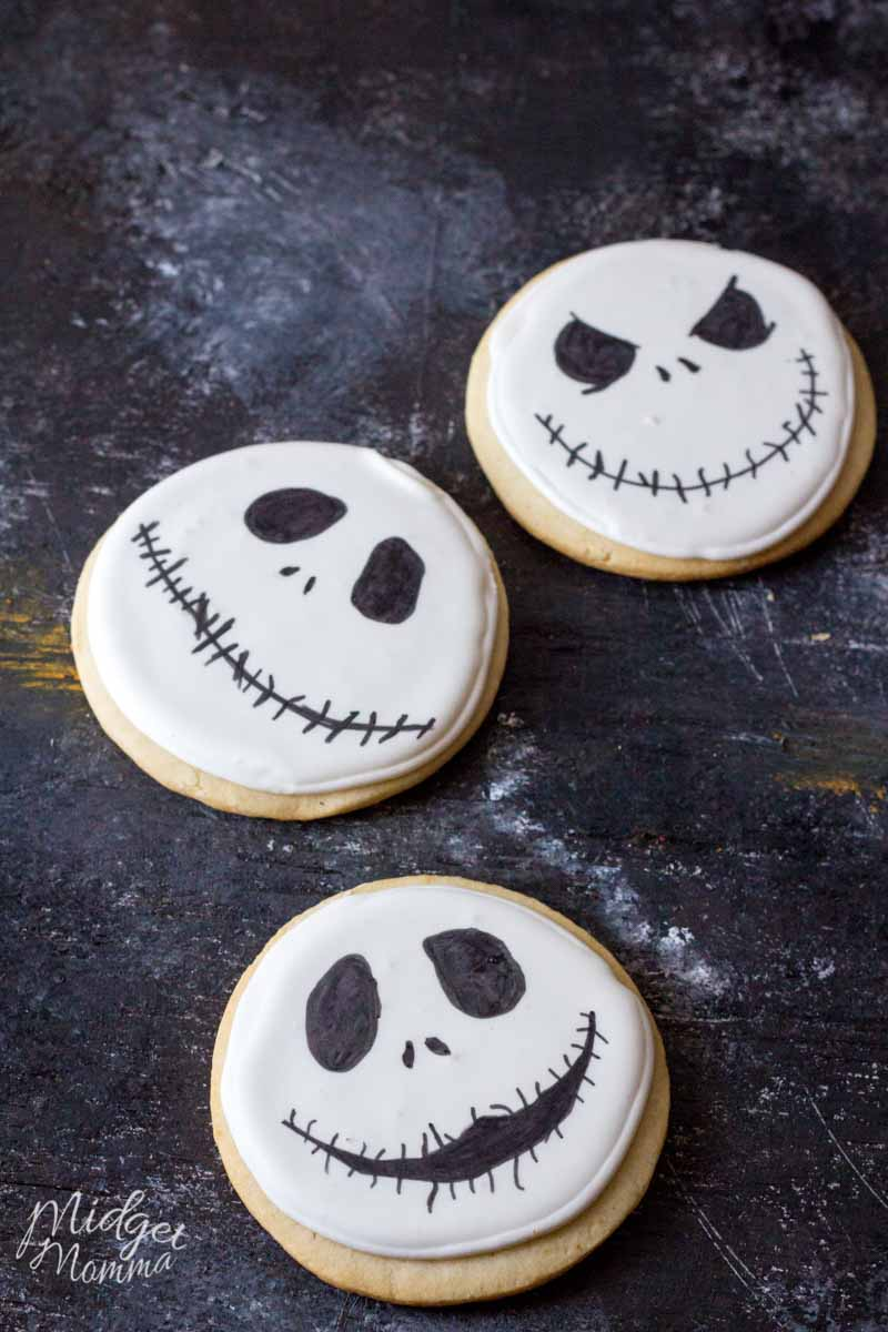 3 Jack Skellington cookies on a black background