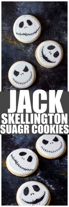 These Jack Skellington cookies are the perfect sugar cookie. Easy to make Jack Skellington cookies that are so much fun to make and all Nightmare Before Christmas fans will love! #Cookies #JackSkellington #JackSkellingtonCookies #HalloweenCookies