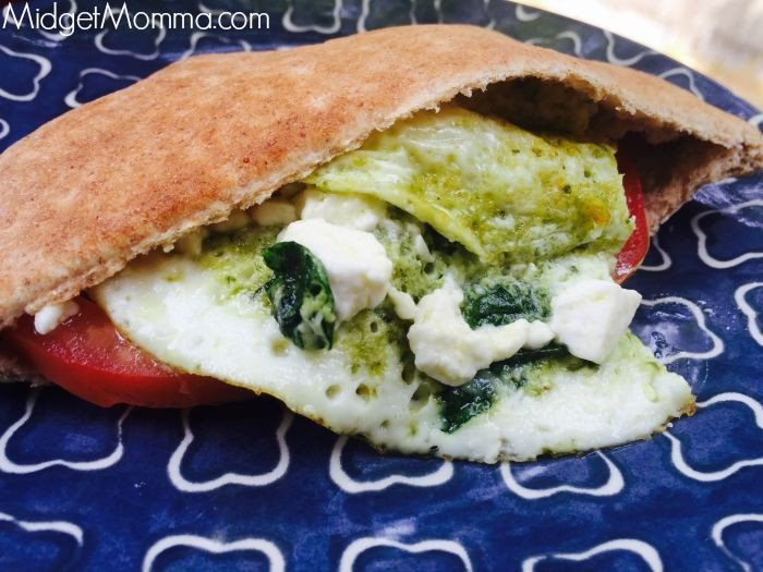 Spinach And Feta Pita. Easy breakfast meal packed with protein. This Spinach And Feta Pita also makes a great lunch too!