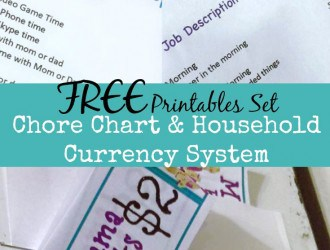 Chore Chart & Household Currency System (FREE Chore Chart, Spending List & Household Currency Printables)