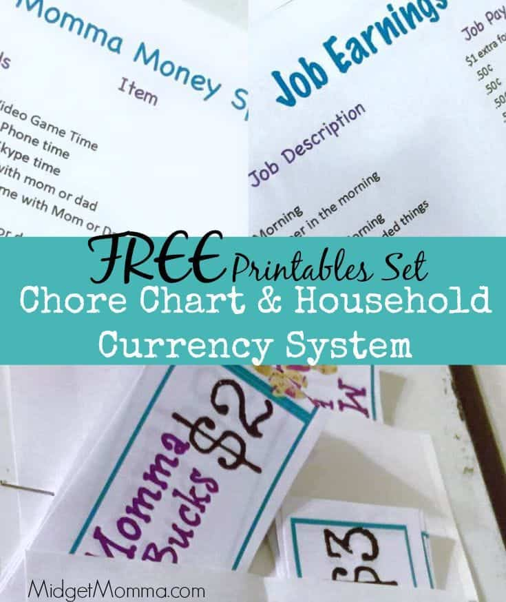 chore chart  u0026 household currency system free printable set
