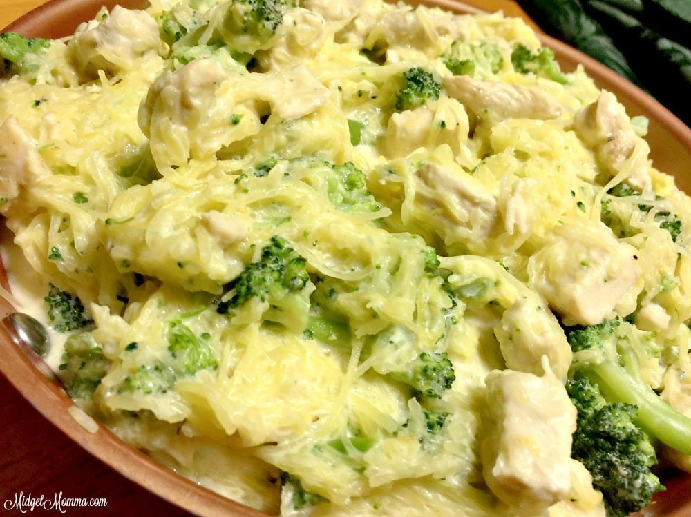 Spaghetti Squash Chicken and Broccoli Alfredo. Spaghetti Squash Alfredo, low carb alfredo dinner. Easy Spaghetti Squash Chicken and Broccoli Alfredo
