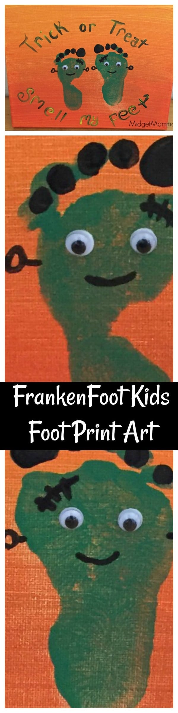 Frankenfoot Kids Foot Print Art Halloween Craft