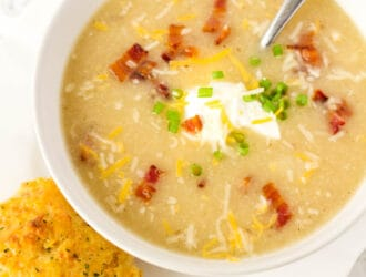 a bowl of Potato Cauliflower Soup Recipe