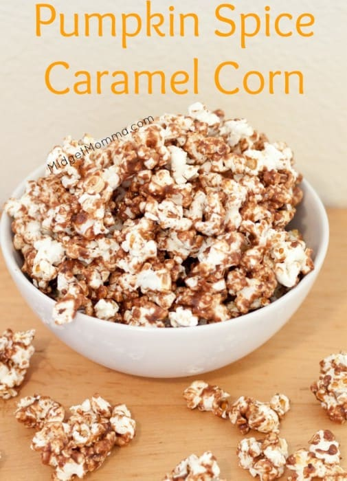 Pumpkin Spice Caramel Corn. Perfect for fall, a mix of two awesome flavors makes one amazing sweet treat with this Pumpkin Spice Caramel Corn.