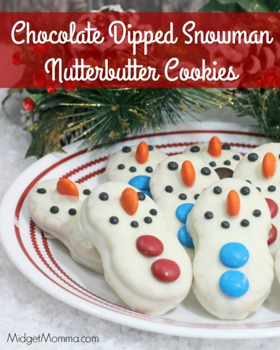 Chocolate Dipped Snowman Nutterbutter Cookies