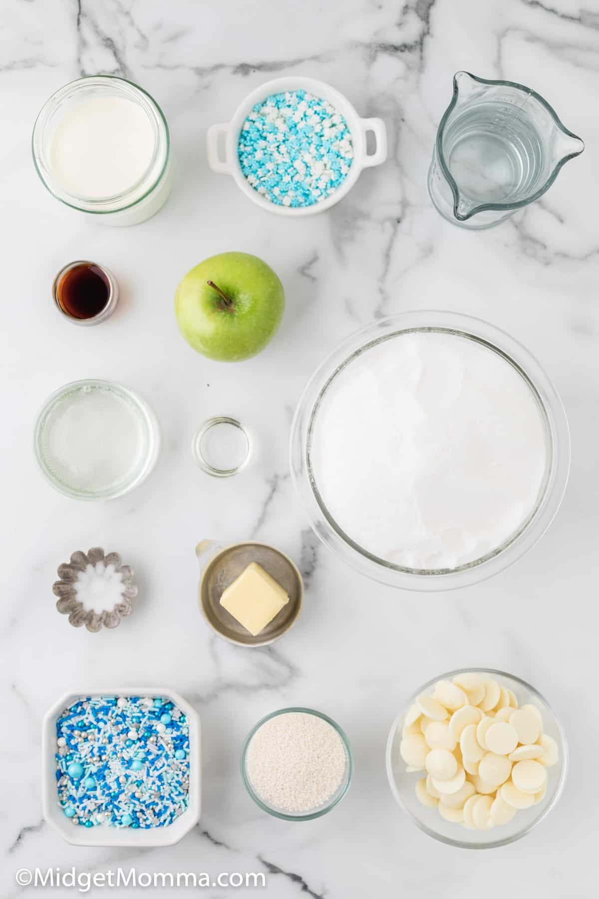 Frozen Themed White Chocolate Caramel Apples ingredients