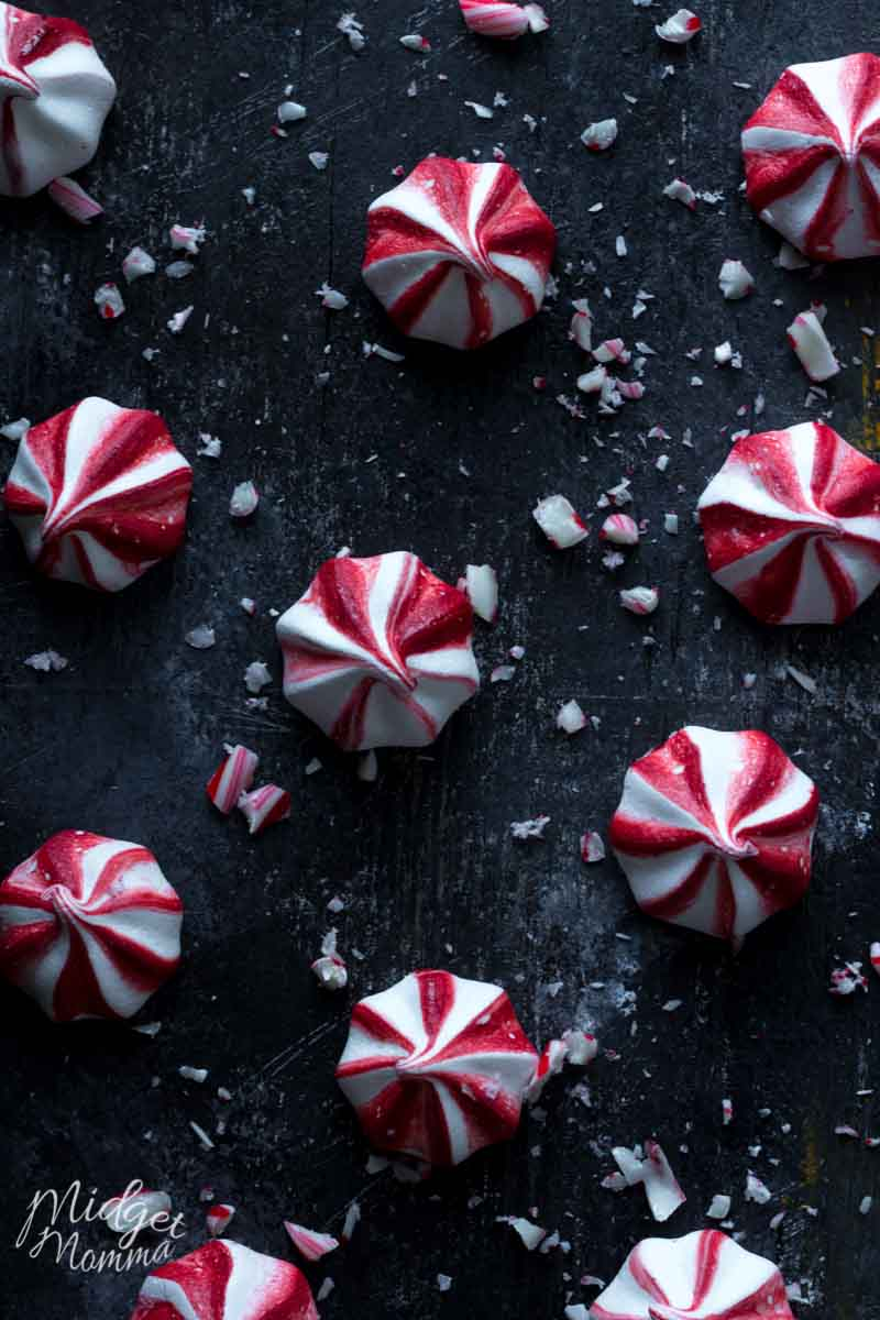 Peppermint Meringue cookies on a black tray