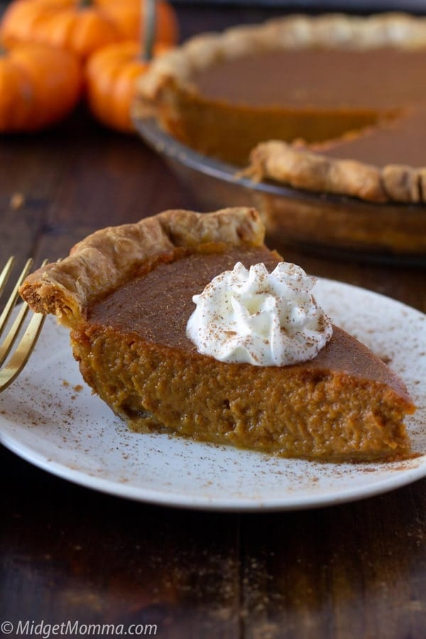 slice of pumpkin pie made with maple syrup on a plate