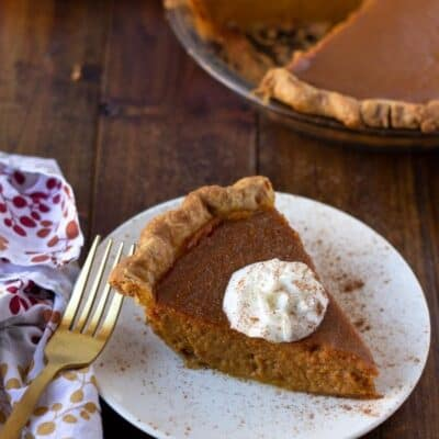 slice of maple pumpkin pie on a white plate