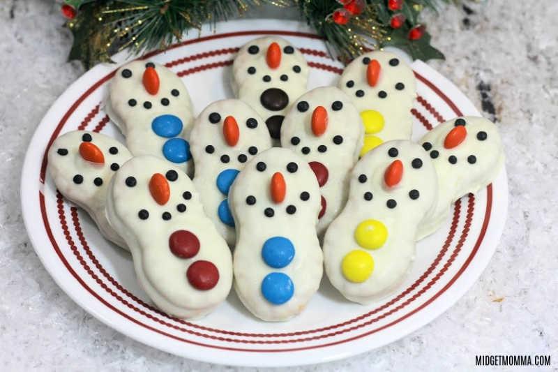 snowman nutterbutter cookies