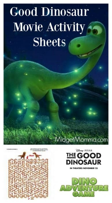 Printable The Good Dinosaur Activity sheets