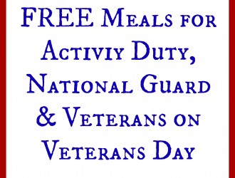 Where Veterans can eat for FREE on Veteran's Day 2015!