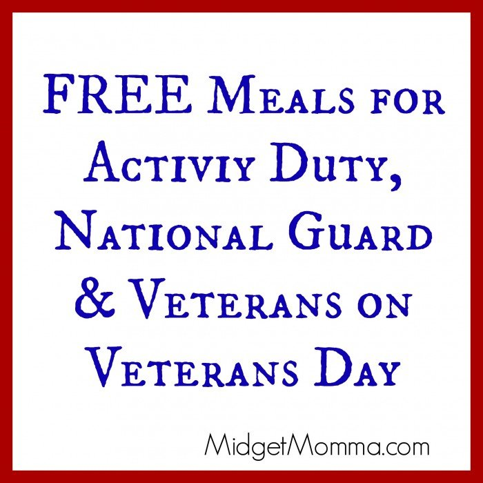 veteran's day free meals 2015