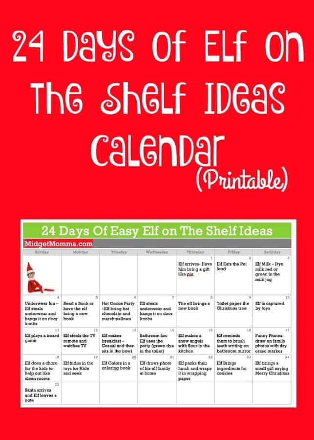 Elf On The Shelf Ideas Calendar Printable