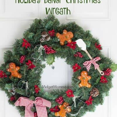 Holiday Baker Christmas Wreath made with a fake wreath and christmas ornaments
