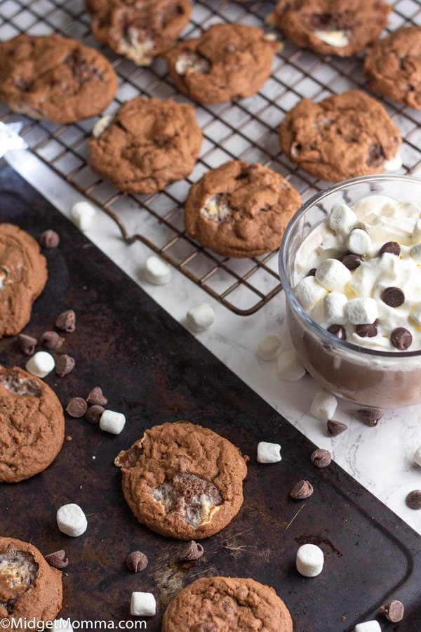 Hot cocoa cookies on a baking sheet