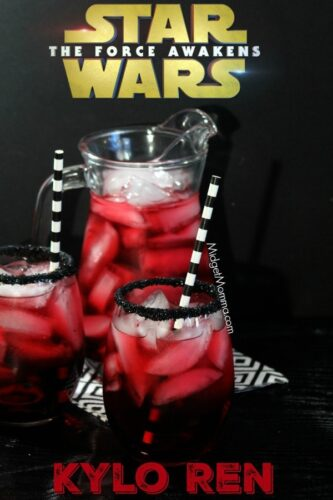 Star Wars Kylo Ren Party Drink. Easy Star Wars Party drink that the kids will love. A trick to getting the sparkly black edging on your drink.