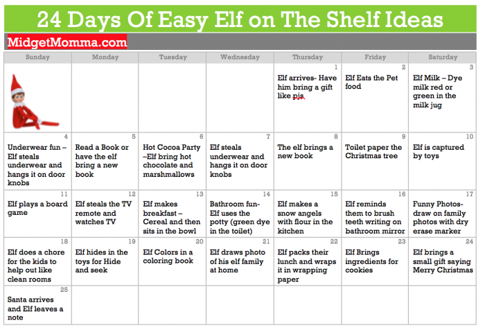Elf on the Shelf Ideas Calendar
