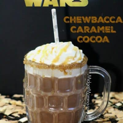 Chewbacca Caramel Hot Chocolate. Made with Ghirardelli chocolate and Ghirardelli caramel. The combination is inspired by Chewbacca from the Star Wars Movies. Star Wars drink, Star Wars food, Star Wars party drink, star wars hot chocolate, star wars character drink.