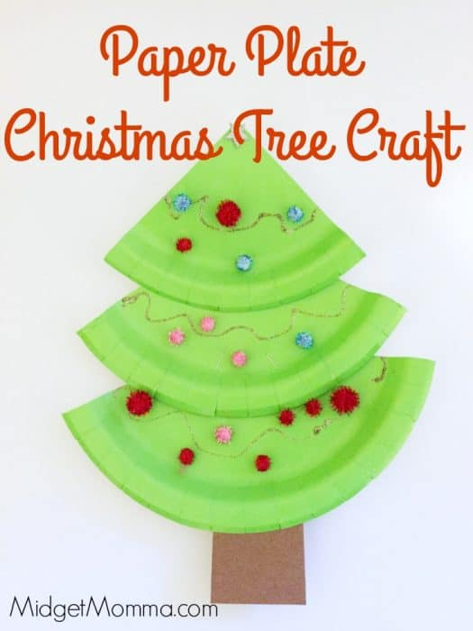 Christmas tree craft for kids. Fun and easy to make Christmas tree craft. Make a Christmas tree out of paper plates and paint. Christmas tree crafts that is great for kids of all ages. Preschool christmas tree craft that is easy to make.