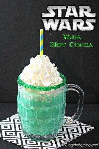 Star Wars Inspired Yoda Hot Chocolate. Amazing tasting white hot chocolate that is inspired by Yoda. Kids will love it and adults will too! Easy to make white hot chocolate with a secret to make it green! Star Wars drink, Star Wars food, Star Wars party drink, star wars hot chocolate, star wars character drink.