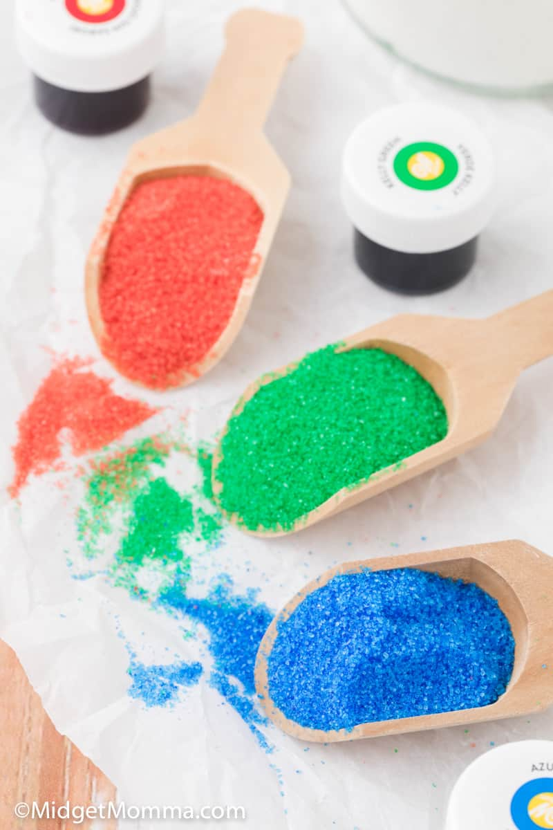 spoonful of colored sanding sugar