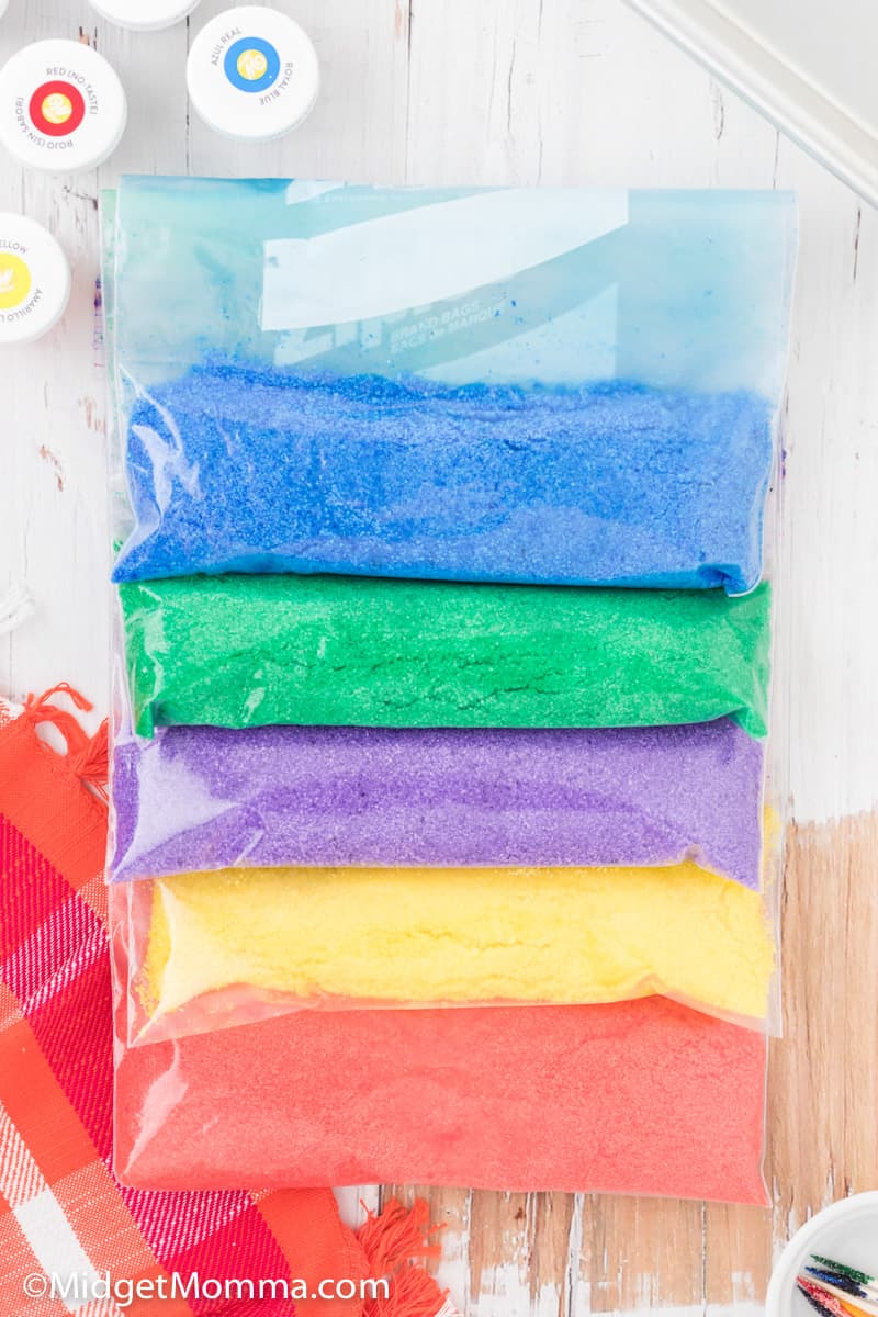 zip close bags with colored sugar
