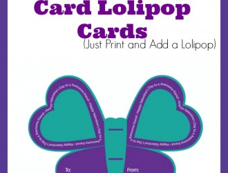 Printable Valentine's Day Butterfly Lolipop Cards