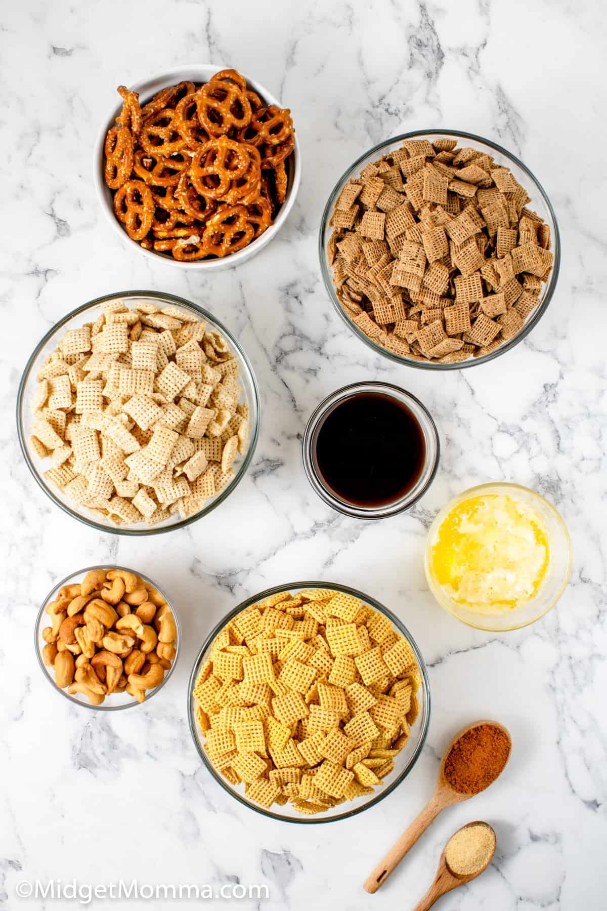 Slow Cooker Chex Snack Mix ingredients