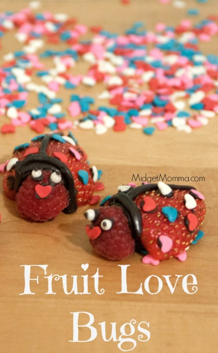 Fruit Love Bugs. Kids Valentine's Day treat made with fruit and a little bit of Chocolate.