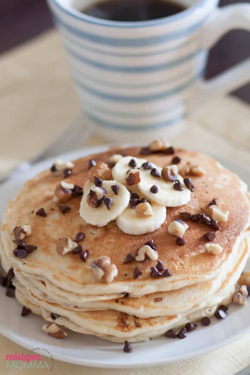 Walnut Banana Chocolate Chip Pancakes