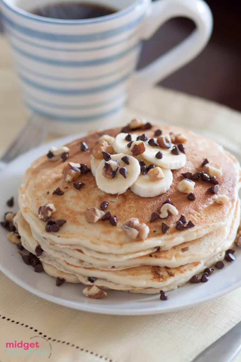 Walnut Banana Chocolate Chip Pancakes