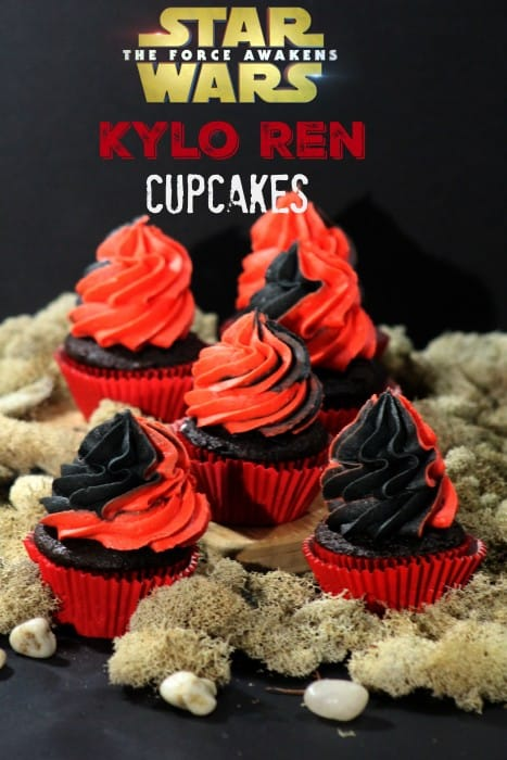 Star Wars Kylo Ren Cupcakes A fun cupcake to make for a Star Wars Party. Red and black Star Wars Kylo Ren Cupcakes that are fun too!