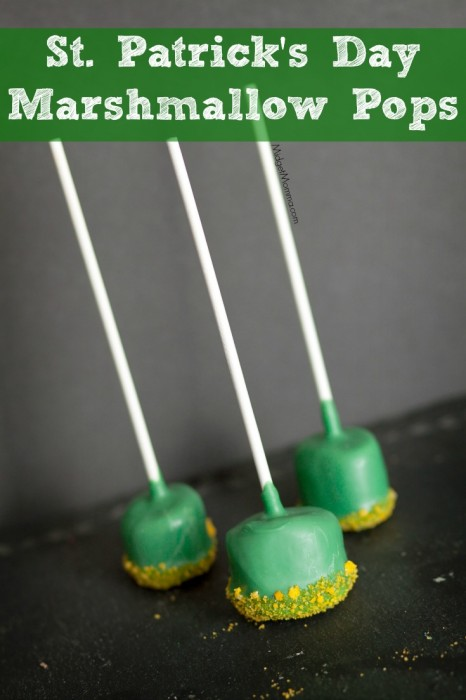 St. Patrick's Day Marshmallow Pops Easy to make tasty treat for St. Patricks Day. Using melted chocolate to make these St. Patrick's Day Marshmallow Pops