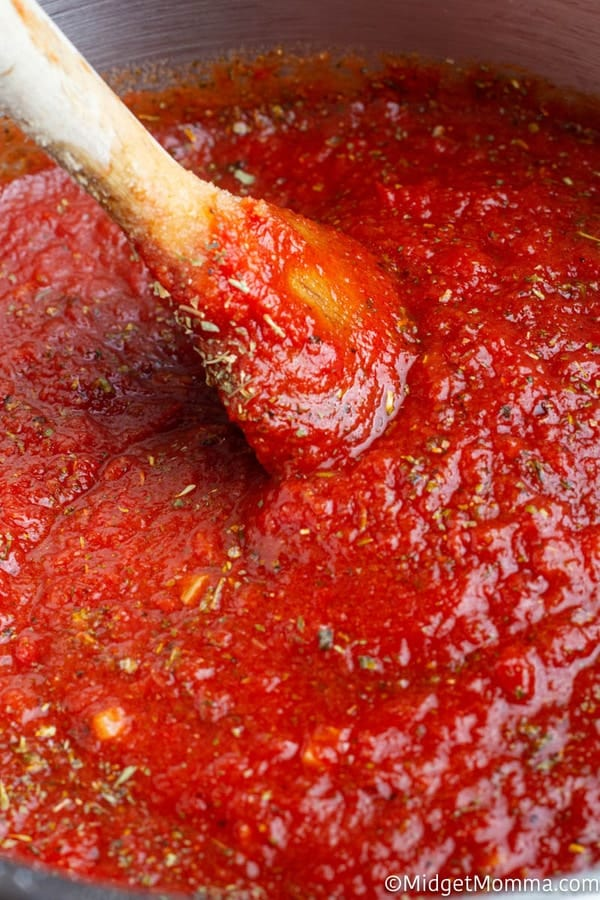 Homemade spaghetti sauce cooking in a pot